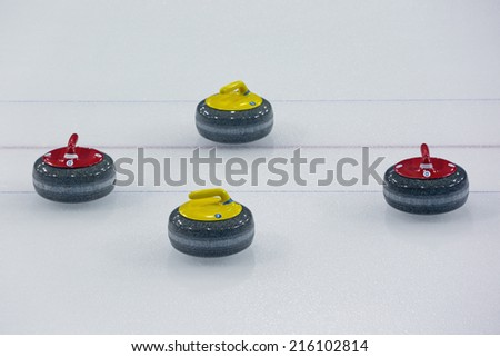 Stones for sports game of Curling on ice - stock photo