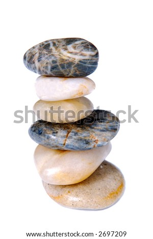 Stones in balance a over white background - stock photo