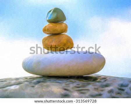 Stones in Balance. The small stone on the top is the size of a small finger nail to give an idea of how small the stones are.  - stock photo