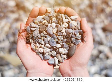 Stones in Hands - stock photo