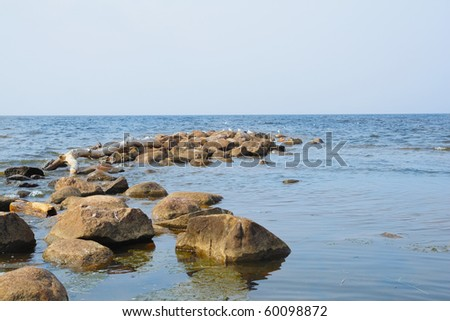 Stones in the water, the Gulf of Finland, Russia