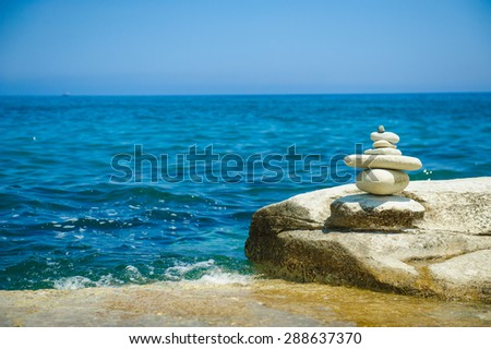 Stones on the seashore - stock photo