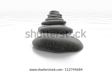 Stones on White Sea - Isolated Object on Background - stock photo