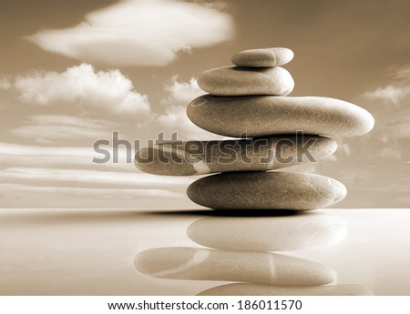 stones pile, zen style, sepia color  - stock photo