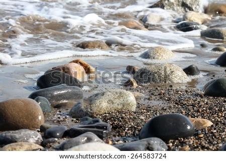 Stones, Rocks, Beach â?? Bray, Wicklow, Ireland - stock photo