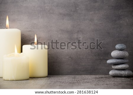 Stones spa treatment scene, zen like concepts. - stock photo