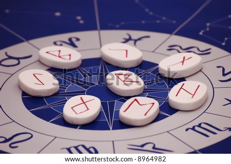 Stones Symbols Runes On Astrological Background Stock Photo Royalty