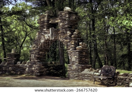 Stonework Arch in Gillette's Castle Park with a Bench in Connecticut - stock photo