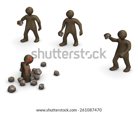 Stoning sentence. 3d illustration with black cartoon characters. - stock photo
