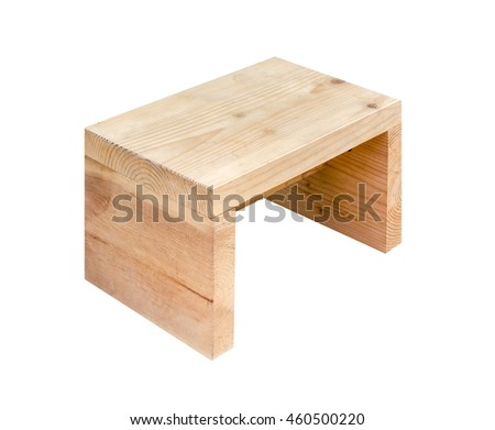 Stool wooden. Isolated on white background with copy space