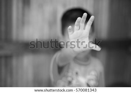 Stop abusing boy violence. child bondage in angle image blur , Human Rights Day concept.