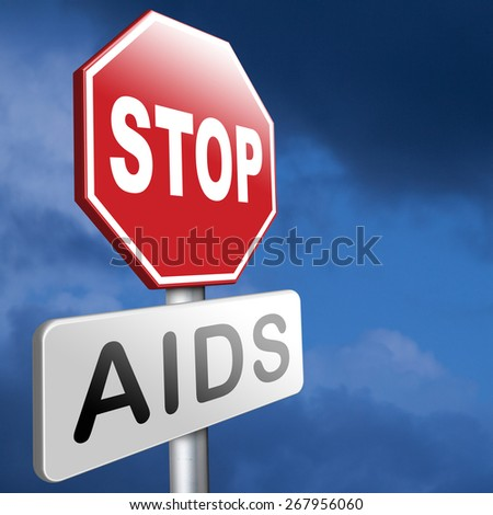 stop aids have safe sex and protection for infection use condom for prevention  - stock photo