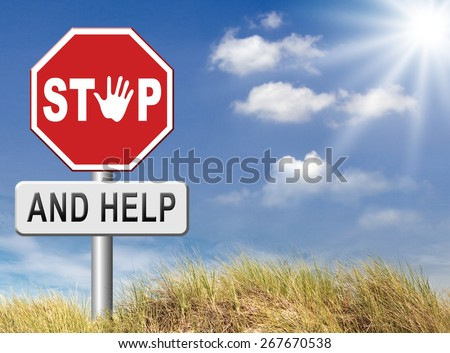 stop and help helping others give a hand for solidarity and give for charity and donate - stock photo