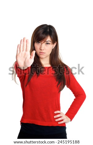 Stop and talk to my hand gesture on white background - stock photo