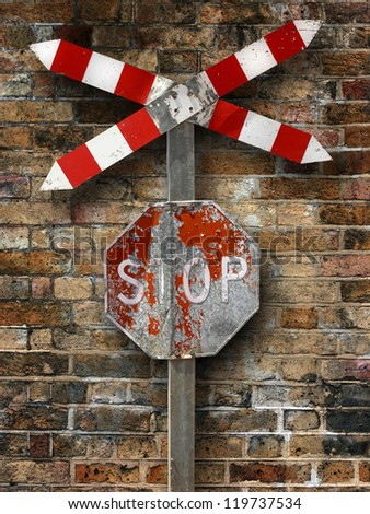 Stop and wall - stock photo