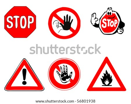 stop and warning sign selection - also available as vector