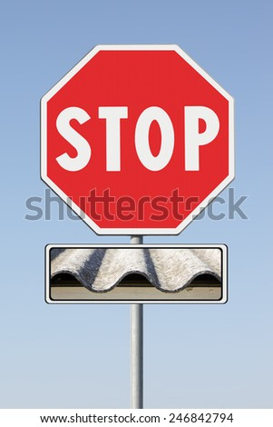 Stop asbestos concept. Stop Asbestos on road sign - stock photo
