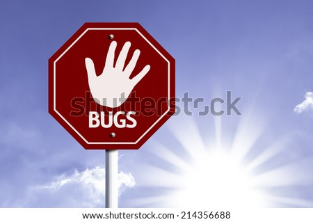 Stop Bugs red sign with sun background  - stock photo