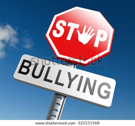 stop bullying no harassment or threat from bullies at school or at work, stopping an online internet bully  - stock photo