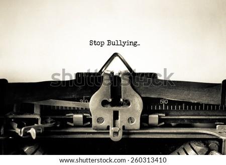 Stop Bullying written on vintage typewriter - stock photo