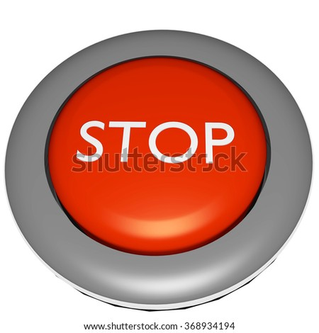 stop button 3d - stock photo