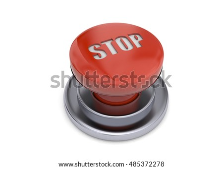 Stop Button on white background - 3D