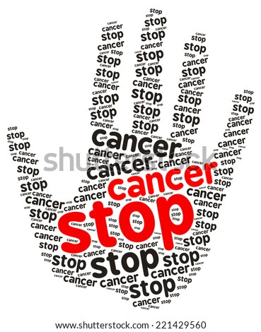 Stop Cancer word cloud in the shape of a palm, isolated on white - stock photo