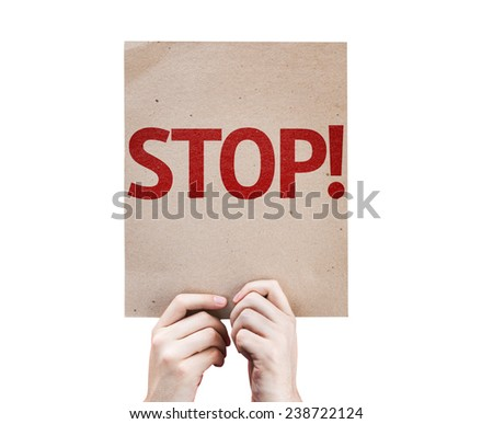 Stop! card isolated on white background - stock photo