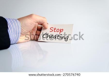 Stop Cheating Concept Isolated Over White Background - stock photo
