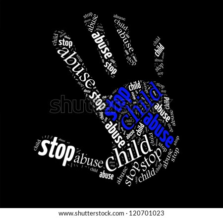 Stop Child Abuse sign words clouds shape isolated in black background