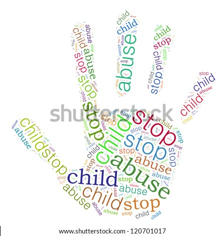 Stop Child Abuse sign words clouds shape isolated in white background