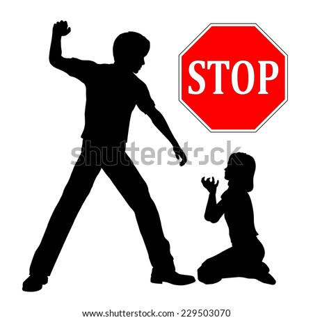 Stop Child abuse. The father must stop domestic violence beating up his daughter  - stock photo