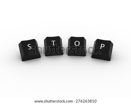 STOP Computer Keys on white background