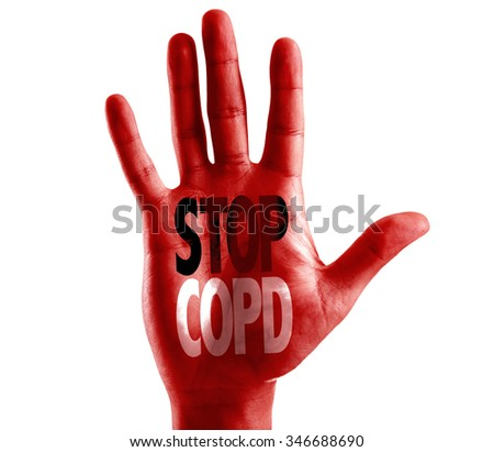 Stop COPD written on hand isolated on white background - stock photo