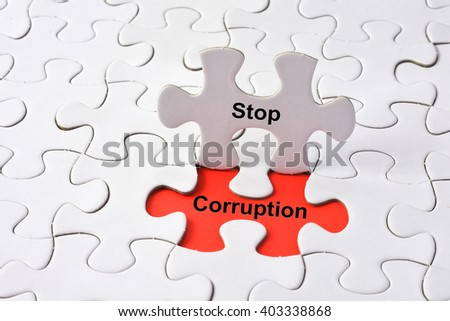 Stop Corruption concept on missing puzzle - stock photo