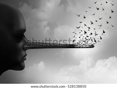 Stop corruption concept or spreading lies symbol as a person with a long nose that is being replaced by flying birds as a metaphor for honesty and communicating rumors in a 3D illustration style.