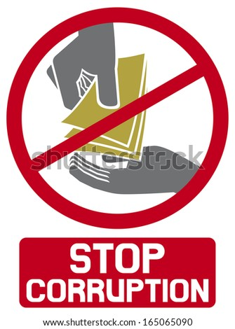 stop corruption sign (stop corruption symbol, hand giving money to other hand) - stock photo