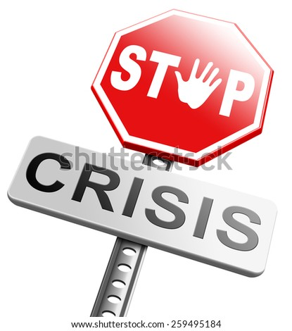 stop crisis recession and inflation economic and bank downfall stock market crash - stock photo