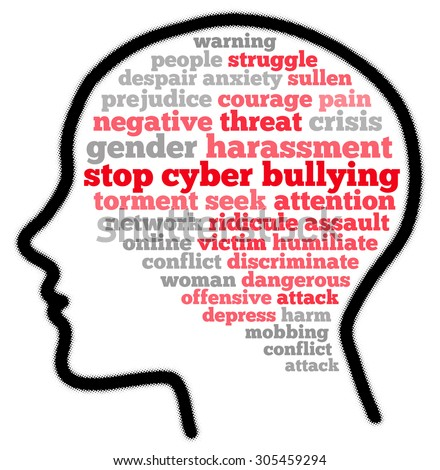 Stop cyber bullying in word cloud concept - stock photo