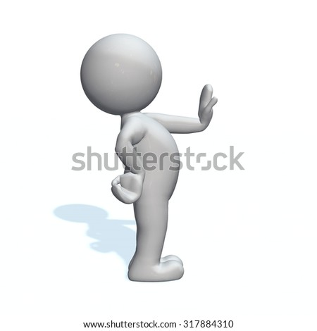 stop - 3D People isolated - stock photo