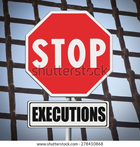 Stop death penalty written on road sign - concept image - stock photo