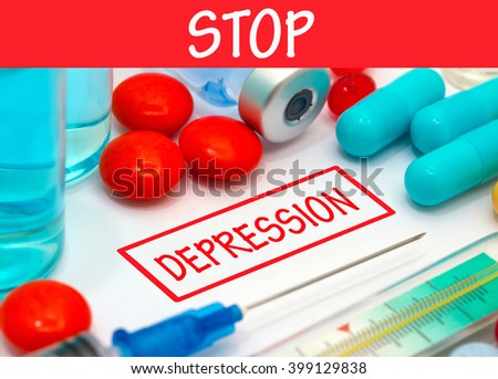 Stop depression. Vaccine to treat disease. Syringe and vaccine with drugs. - stock photo