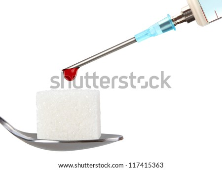Stop Diabetes,insulin syringe on white background