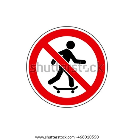 STOP!  Do not ride a skateboard. The icon with a  red contour on a white background. For any use. Warns.