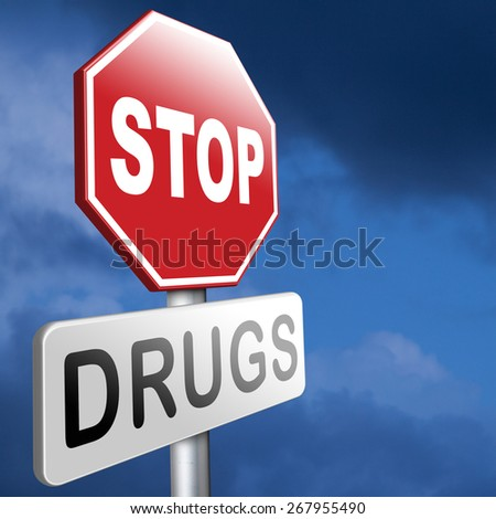 stop drug addiction no drugs addict cocaine heroin crack christal meth - stock photo