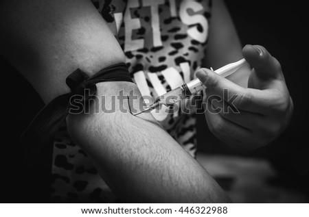 Stop drug, death, illegal habit - stock photo
