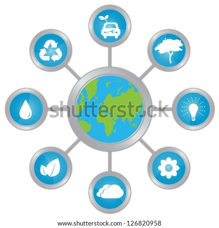 Stop Global Warming and Save The Earth Concept Present By The Earth Connected To Group of Conservation Icon Isolated on White Background - stock photo