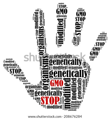 stop gmo  word cloud illustration in shape of hand print