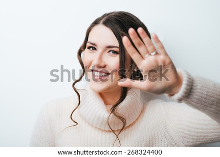 stop hand gesture with business woman - stock photo