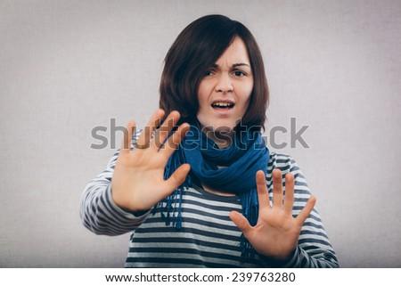 stop hand gesture with women, selective focus - stock photo